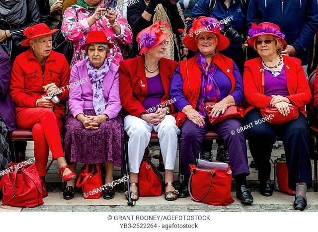 The Ruislip Red Hatters At The Annual Pearly Kings and Queens Harvest Festival At The Guildhall, London, UK