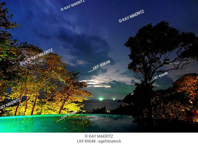 Evening view towards the sea, Hotel Pimalai, Ao Kantiang, Ko Lanta, Krabi, Thailand