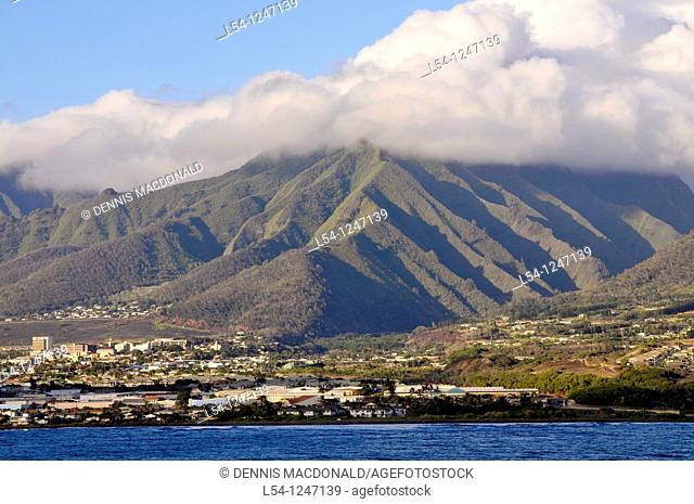 View as Cruise Ship approaches Kahului Harbor Maui Hawaii