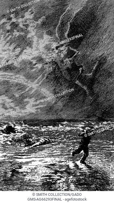 Le Criard, pen and India ink illustration by Felix Hilaire Buhot, depicting a man running and covering himseld by the ocean, 1876