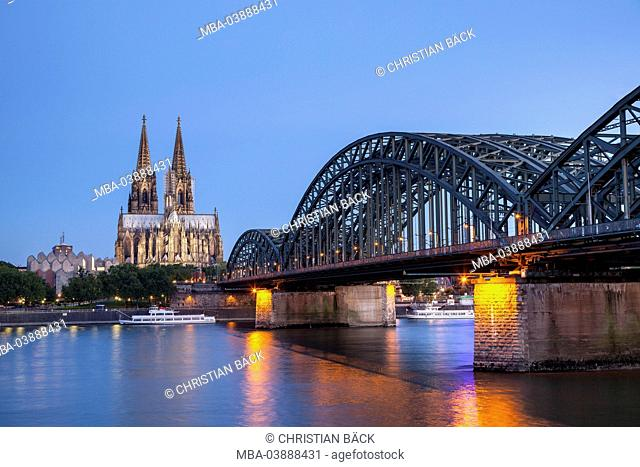 townscape with Cologne Cathedral, Hohenzollern Bridge and the Rhine River, Cologne, North Rhine-Westphalia, Germany
