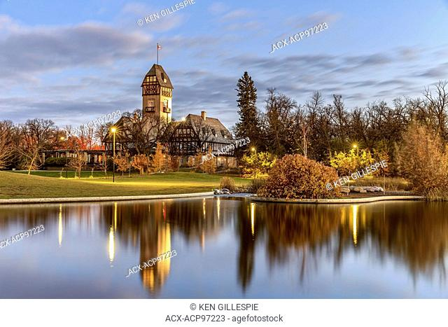 Pavilion in Assiniboine Park reflected in the Duck Pond, Winnipeg, Manitoba, Canada