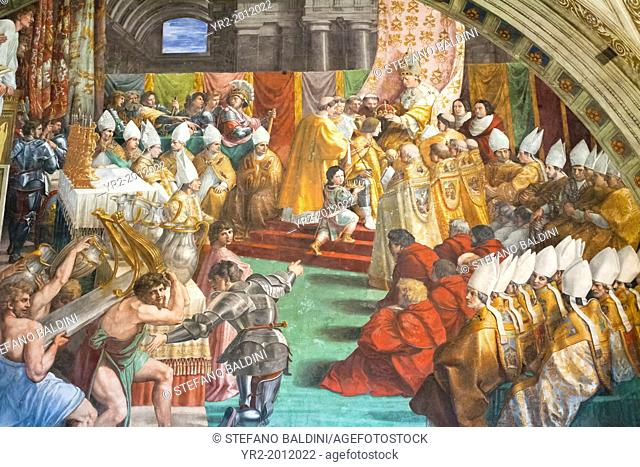 The coronation of Charlemagne, 1511 , Raphael, fresco, room of the fire in the borgo ,Raphael's rooms, vatican museums, Rome, Italy