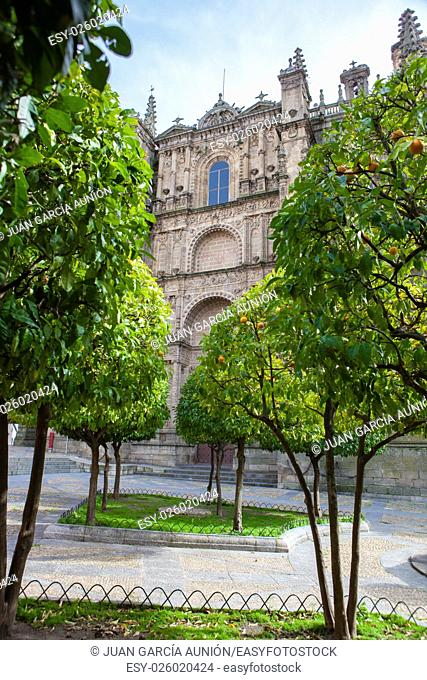 Plasencia New Cathedral. View from orange tree garden, Caceres, Spain