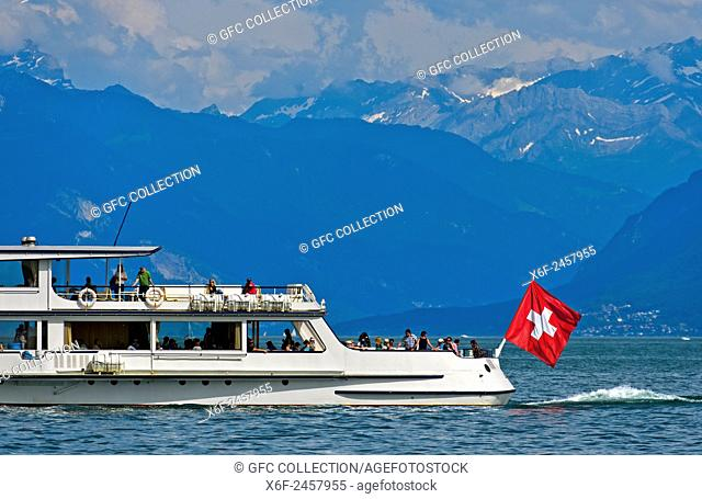 Motor vessel General Guisan of the shipping company CGN on a cruise on Lake Leman beneath the Alpes Vaudoises, Morges, Vaud, Switzerland