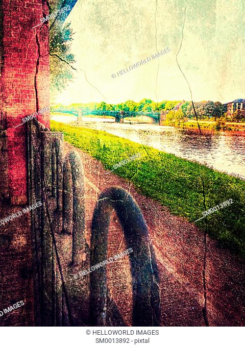 River Trent and Trent Bridge with crack special effect, Nottingham, Nottinghamshire, east Midlands, England