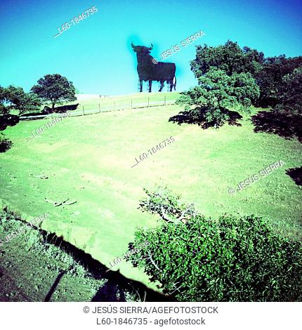 Silhouette of an Osborne Bull on the horizon, Advertisement, Andalusia, Spain