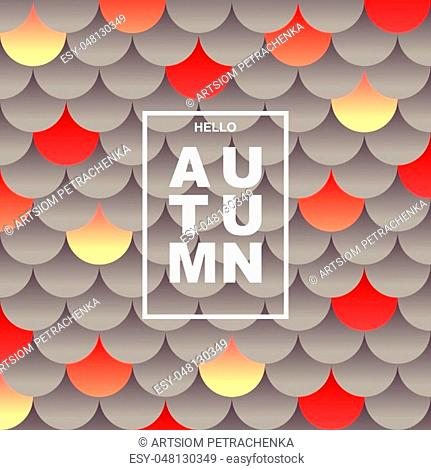 Autumn stylized background. Layered pattern of circles with a volume effect. Fall season poster. Modern vector design