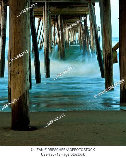Waves under the Avalon Pier, Outer Banks, North Carolina during a hurricane