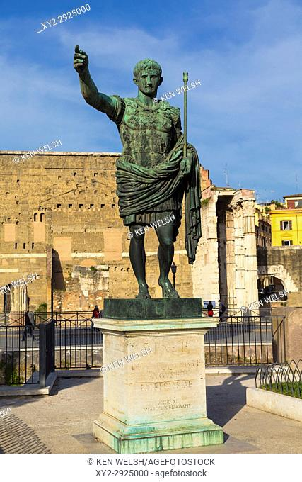 Rome, Italy. Statue of the Emperor Augustus with Trajan's Forum behind