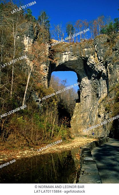 Natural Bridge in Rockbridge County,Virginia is a geological formation in which Cedar Creek has carved out a gorge in the mountainous limestone terrain