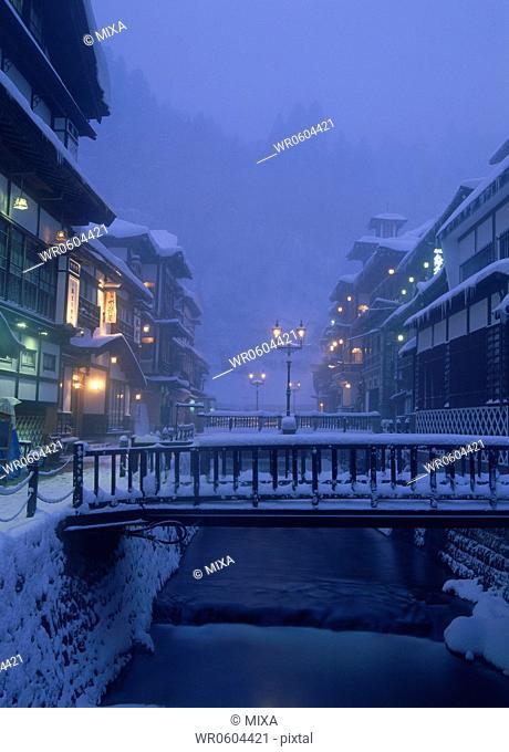 Snowscape of Ginzan Onsen, Obanazawa, Yamagata, Japan