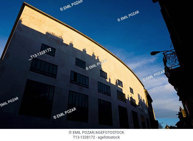 Rijeka in Croatia, theatre 'HKD Susak' curved-roof building in a sunset time