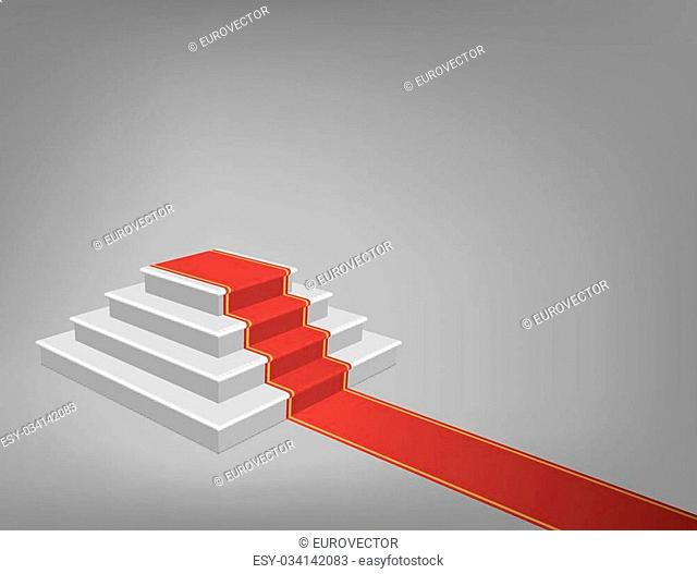 Staircase with Red Carpet, Vector Illustration