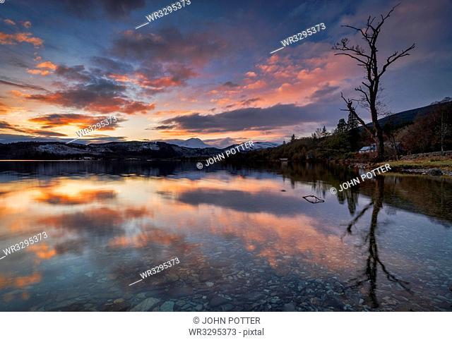Sunset over Ben Lomond and Loch Ard, Aberfoyle, Scotland, United Kingdom, Europe