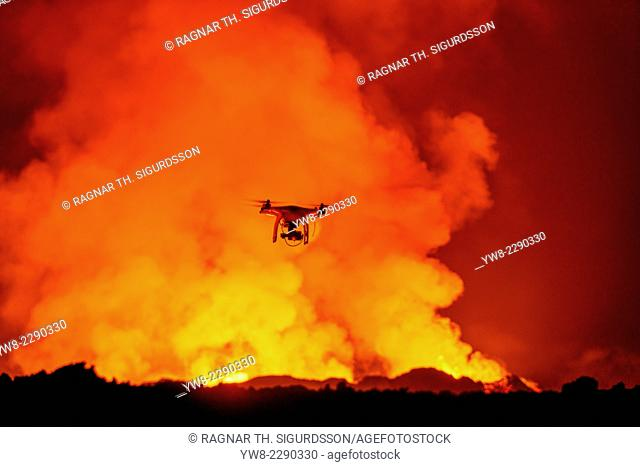 DJI Phantom 2 with GoPro flying over Eruption
