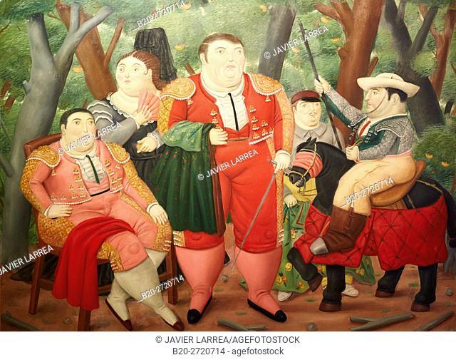 """""""El Zurdo and his Cuadrilla"""", 1987, Fernando Botero, Museo de Antioquia, Medellin, Antioquia, Colombia"""