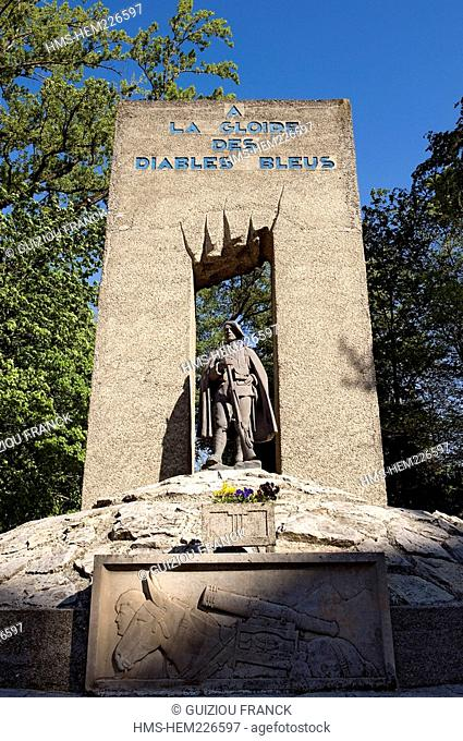 France, Isere, Grenoble, Paul Mistral Park, Monument to the Glory of the Diables Bleus Blue Devils during the Second World War