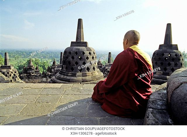 Buddhist monk at Borobodur Temple, Java island, Greater Sunda Islands, Republic of Indonesia, Southeast Asia and Oceania