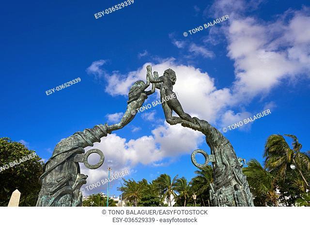 Playa del Carmen Portal Maya sculpture in Mexico Mayan riviera