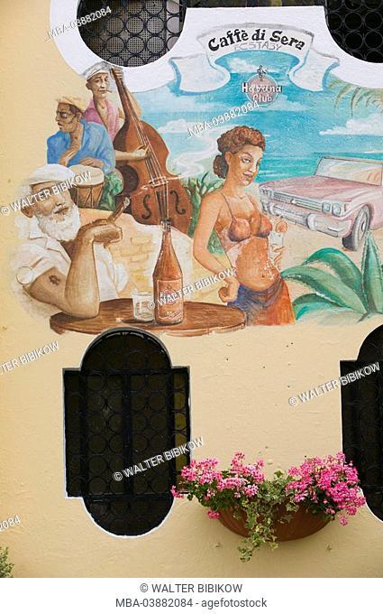 Italy, Kampanien, island Ischia, Ischia postage, cafe di Serra, murals, Havanna, no property release, South-Italy, wall, facade, paintings, people, rum, bottle