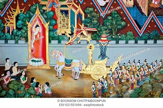 Mural Buddhist art in Thai temple, Thailand