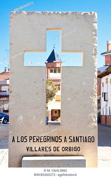 Way of St. James, cross with church, Spain, Castile and Leon, Leon, Villares de Orbigo