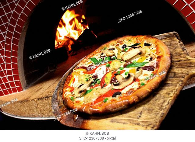 Pizza with mushrooms and courgettes from the wood oven
