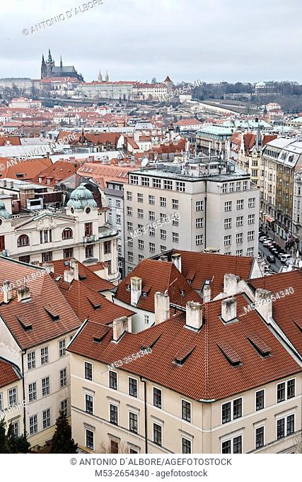 High view of Prague Old Town with Prague Castle in the background. Prague. Czech Republic