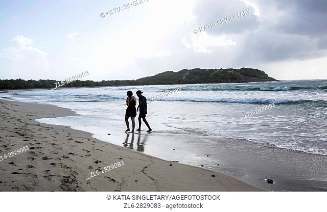 Group of hikers do the Savane des petrifications 18 km hike all along the beach in the South of Martinique