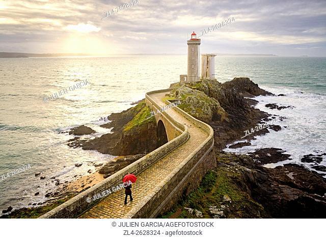 France, Brittany, Finistere, Iroise Sea, Goulet de Brest, Plouzané, Petit Minou lighthouse, Model Released
