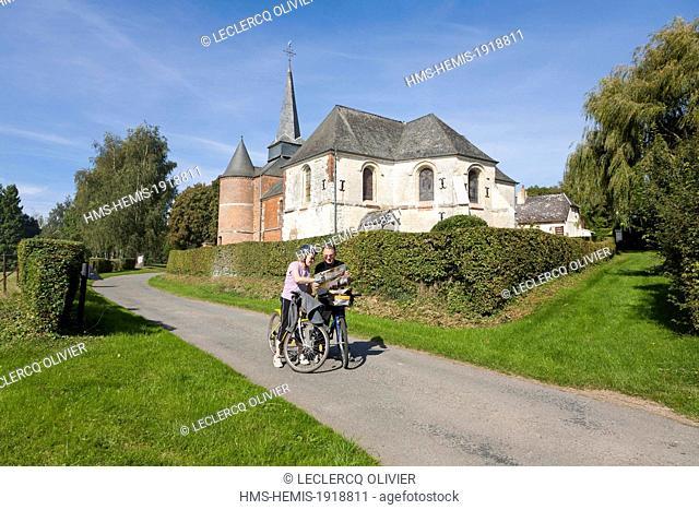 France, Aisne (02), region de la Thierache, l'eglise fortifiee de Gronard/France, Aisne, Thierache region, fortified church of Gronard