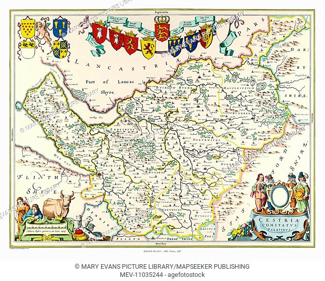 Map of Cheshire by Johan Blaeu
