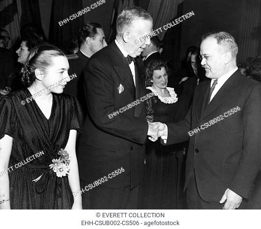 U.S. Sec. of State George Marshall (center), greets Soviet Foreign Minister Molotov. They were attending the Big Four Foreign Ministers Conference in Moscow