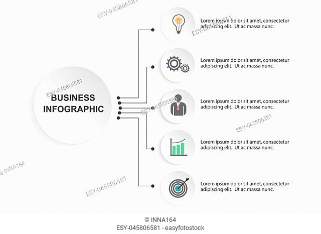 Vector infographic circle template with 5 steps, parts, options, sectors, stages. Can be used for graph, pie chart, workflow layout, cycling diagram, brochure