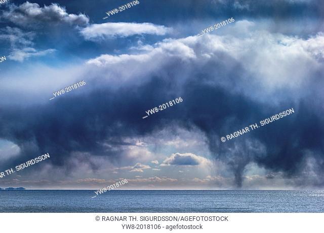 Storm Clouds over calm seas, Reykjavik, Iceland
