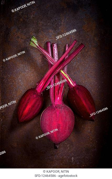 Cut Beetroot on a rusted Metal Tray