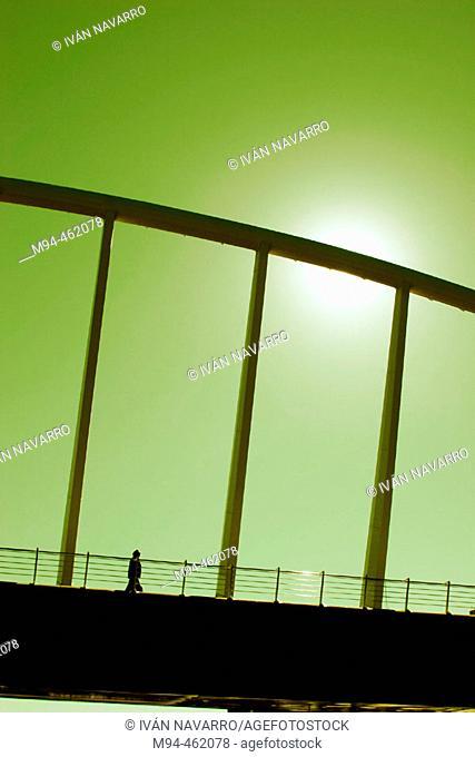 Detalle del puente de la peineta , diseñado por Santiago Calatrava, València