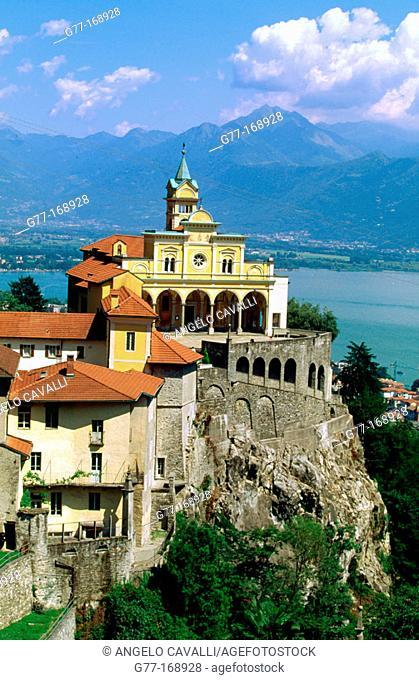 Madonna del Sasso church and Maggiore Lake in background. Locarno. Tessin. Switzerland