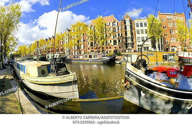Urban Canal, Street Scene, Amsterdam, Holland, Netherlands, Europe