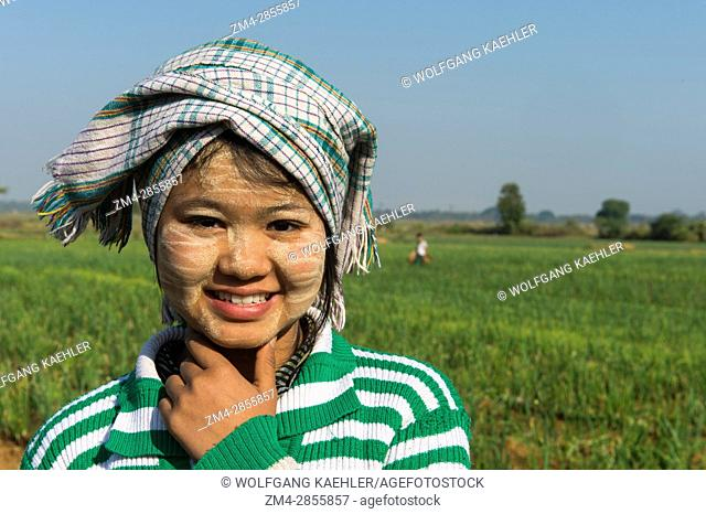 A teenage farm girl is working in a field planted with onions along the road from Bagan to Mandalay in Myanmar
