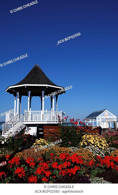 Sidney waterfront bandstand with colourful flowers, Vancouver Island, British Columbia, Canada