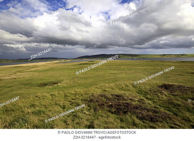 The country near Ring of standing stones at Brodgar, Orkney, Scotland, Highlands, United Kingdom