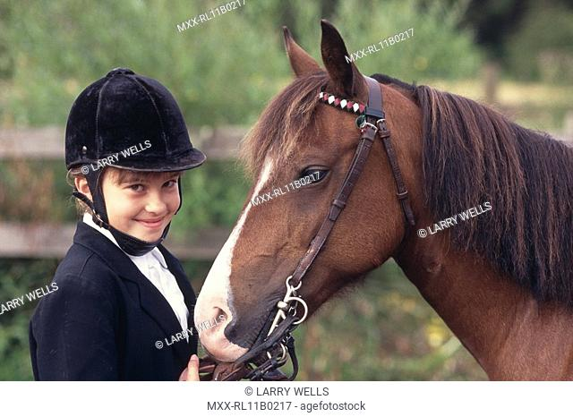 young english style rider and horse