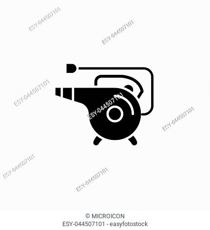 Heat gun black icon concept. Heat gun flat vector website sign, symbol, illustration