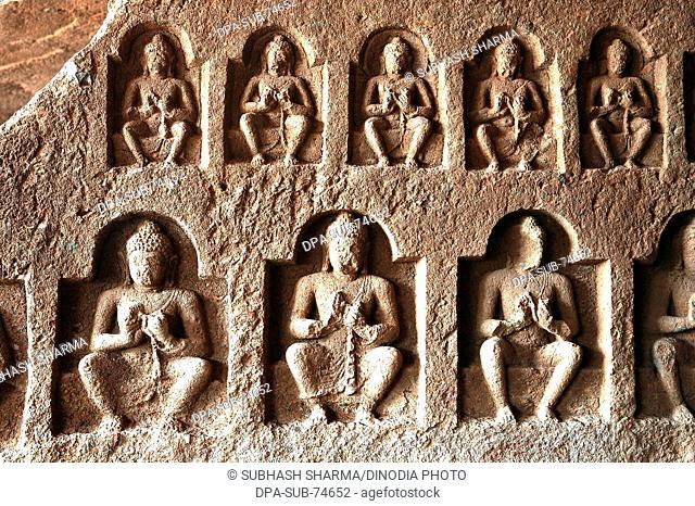 Buddha sculpture at Kanheri Buddhist Caves , Borivali , Mumbai Bombay , maharashtra , India