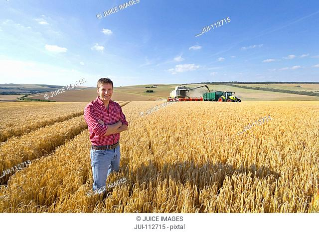 Portrait confident farmer in sunny barley field with combine harvester and tractor trailer in background