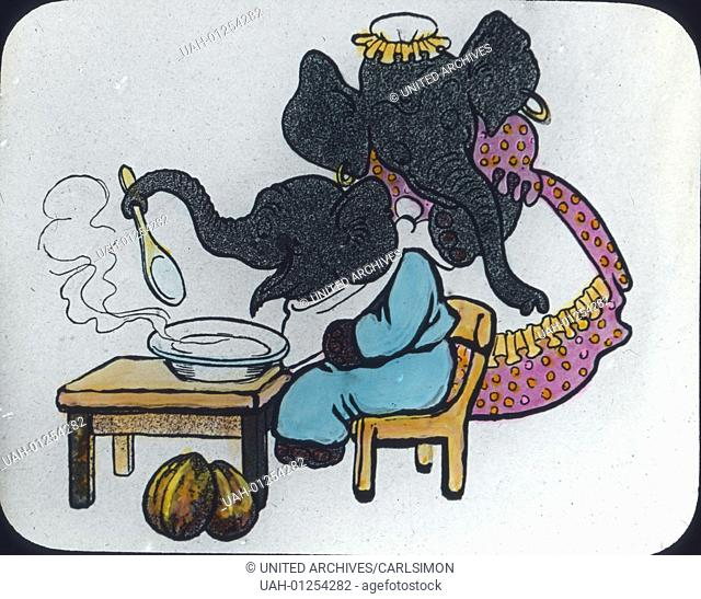 Little Elephant Billy and Mother Jomboval. Comic, image date circa 1910. Carl Simon Archive