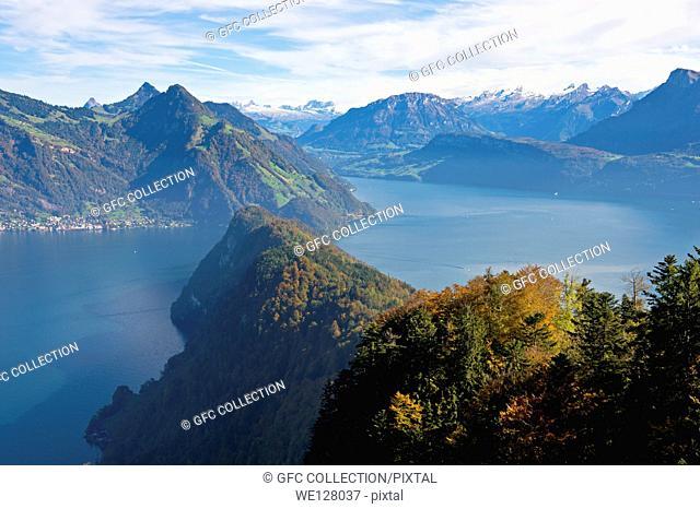 Mountainous landscape at Lake Lucerne (Vierwaldstättersee) near Vitznau, lake Urnersee to the right, Switzerland