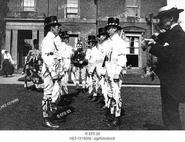Bidford Morris Dancers, Redditch, Worcestershire, 2 June 1906. John Robbins (playing the fiddle), Edward Salisbury, Herbert Smith, John Smith, Alfred Bott